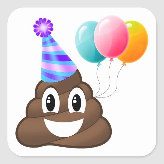 Birthday Party Poop Emoji Sticker