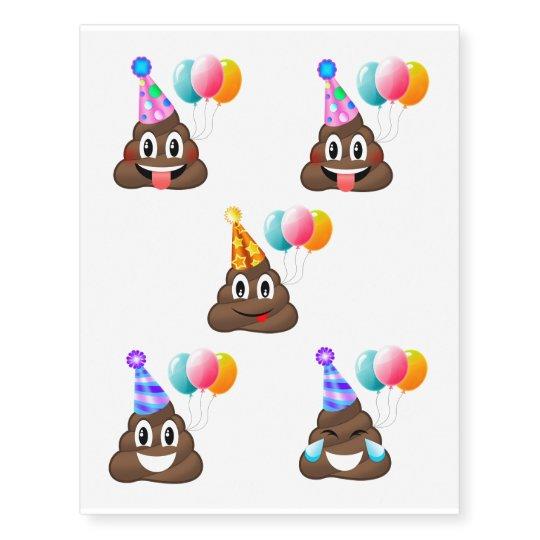 Birthday Party Poop Emoji Temporary Tattoos
