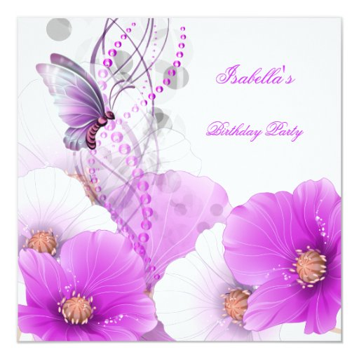 Birthday Party Pretty Floral Lilac White Butterfly Personalized Invite