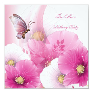 Birthday Party Pretty Floral Pink White Butterfly Card