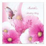 Birthday Party Pretty Floral Pink White Butterfly Personalized Invitation