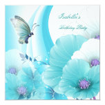 Birthday Party Pretty Floral Teal White Butterfly 5.25x5.25 Square Paper Invitation Card