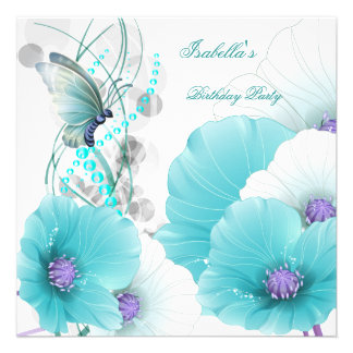 Birthday Party Pretty Floral Teal White Butterfly Custom Invite