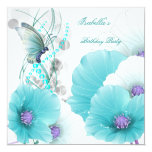 "Birthday Party Pretty Floral Teal White Butterfly 5.25"" Square Invitation Card"