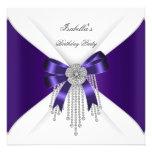 Birthday Party Purple Bow Silver White Diamond Invitations