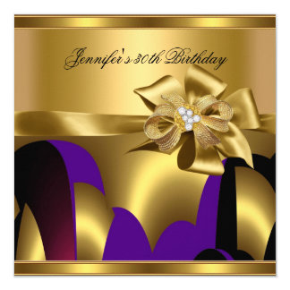 Birthday Party Purple Gold Abstract Card