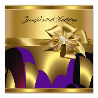 Birthday Party Purple Gold Abstract Personalized Announcement