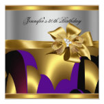 Birthday Party Purple Gold Silver Grey Abstract Personalized Announcements