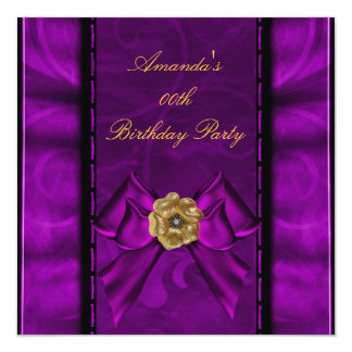 Birthday Party Purple Pink Flower Bow Image Card