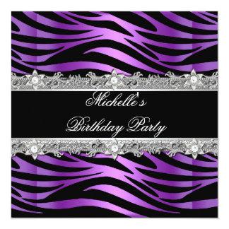 "Birthday Party Purple Silver Zebra Diamond Black 5.25"" Square Invitation Card"
