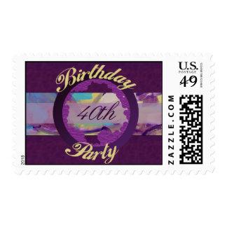 Birthday Party Purple swirl Postage