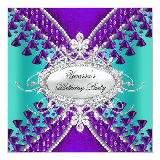 Birthday Party Purple Teal Blue Diamond Beads 5.25x5.25 Square Paper Invitation Card