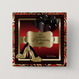 Birthday Party   Red and Gold Pinback Button