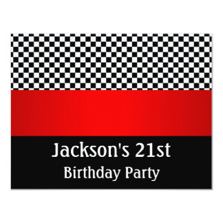 Birthday Party Red Black & White Check Pattern Card