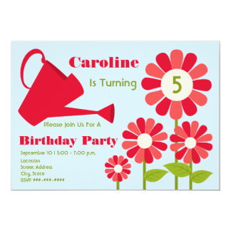Birthday Party - Red Flower Garden & Watering Can Card