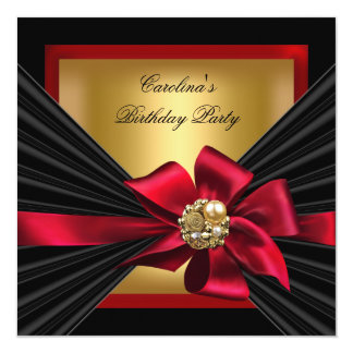 Birthday Party Red Gold Black Bow Jewel Card