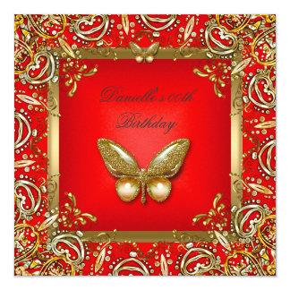 Birthday Party Red Gold Butterfly Lace Image Card