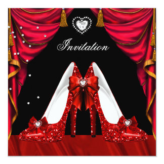 Birthday Party Red Gold Shoes Card
