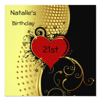 Birthday Party Red Heart Gold and Black Custom Invites