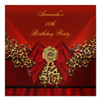 Birthday Party Red Lace Black Flower 2 Image Card