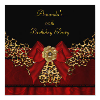 Birthday Party Red Lace Black Flower Image Card