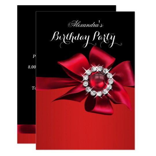 6 Crystal Pearl Photo Picture Frame Diamond Bowknot: Birthday Party Red Pearl Diamond Bow Invitation