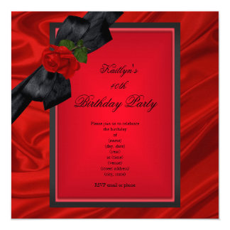 Birthday Party Red Rose Black Bow Invitation