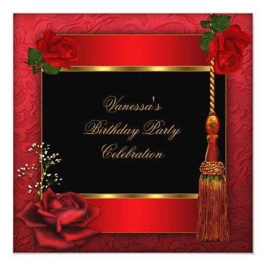 Birthday Party Red Rose Gold Black 3 Card