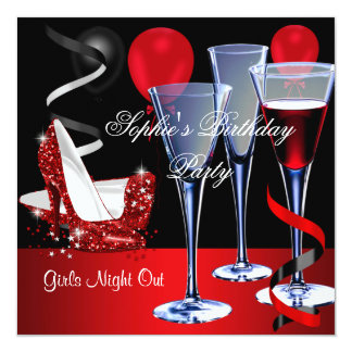 Birthday Party Red Shoe Hi Heels Wine glass 5.25x5.25 Square Paper Invitation Card