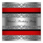 Birthday Party Red Silver Black Diamond 5.25x5.25 Square Paper Invitation Card