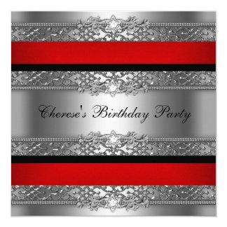 Birthday Party Red Silver Black Diamond Invitation
