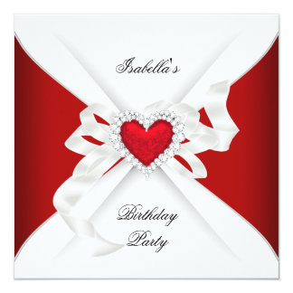 Birthday Party Red Silver White Diamond Heart Card