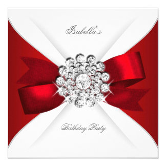 Birthday Party Red White Diamond Red Bow 5.25x5.25 Square Paper Invitation Card