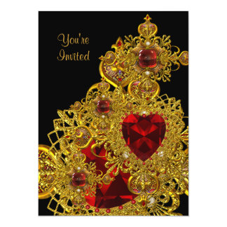 Birthday Party Rich Red Ornate Gold Jewel Galore Card