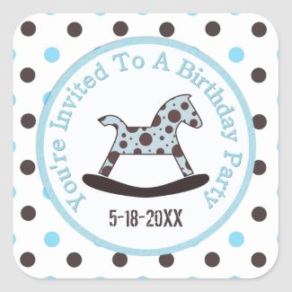 Birthday Party: Rocking Horse Stickers zazzle_sticker