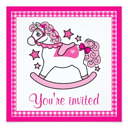 Birthday Party Rocking Unicorn with Stars 5.25x5.25 Square Paper Invitation Card