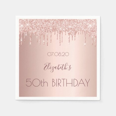 Birthday party rose gold glitter drips pink napkins