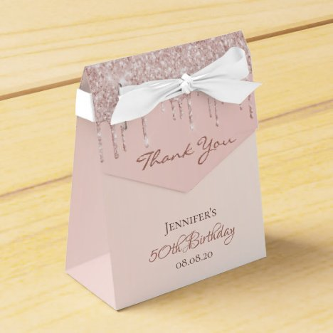 Birthday Party rose gold glitter glam thank you Favor Box
