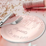 """Birthday party rose gold glitter glamour women paper plate<br><div class=""""desc"""">A paper plate for a girly and glamorous 50th (or any age) birthday party. A faux rose gold metallic looking background with an elegant faux rose gold glitter drips, paint drip look. The text: The name is written in dark rose gold with a large modern hand lettered style script. Template...</div>"""