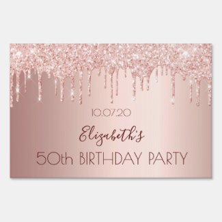 Birthday party rose gold glitter pink drive-by sign