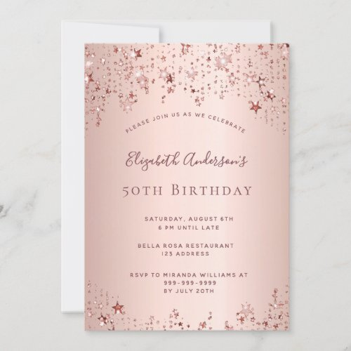 Birthday party rose gold stars sprinkle glam invitation