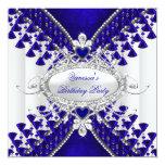 Birthday Party Royal Blue White Heart Diamond Custom Invitation