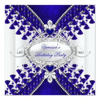 Birthday Party Royal Blue White Heart Diamond 5.25x5.25 Square Paper Invitation Card