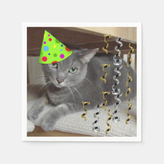 Birthday Party Russian Blue Cat Paper Napkin