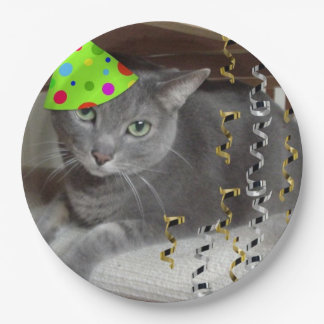 Birthday Party Russian Blue Cat Paper Plate