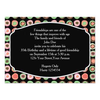 Birthday Party Rustic Polka Dots Card