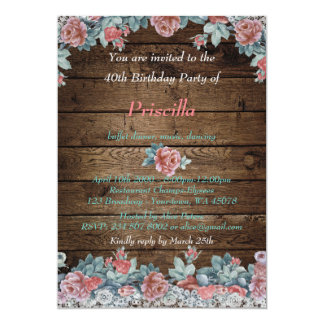 Birthday party, rustic wood lace roses, monogram card