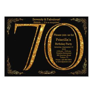 Birthday party, Seventy, great Gatsby, black gold Card