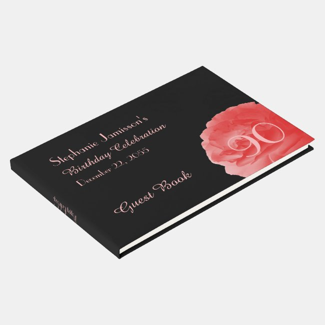 Birthday Party Sign-In Book, Coral Pink Rose