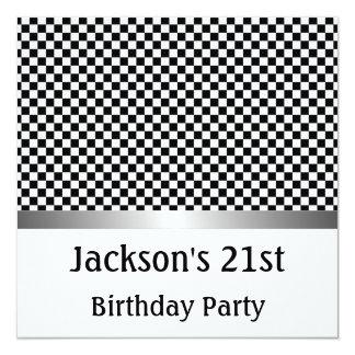 Birthday Party Silver Black & White Check Pattern Card
